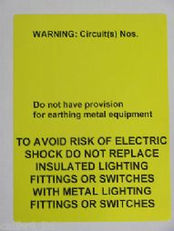 50 'No Provision For Earth' Labels. BS7671